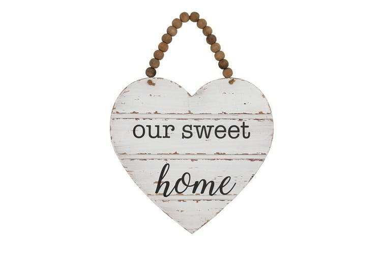 Our Sweet Home Heart w/ Beaded Hanger 32x42cm Home Decor Hanging Display White