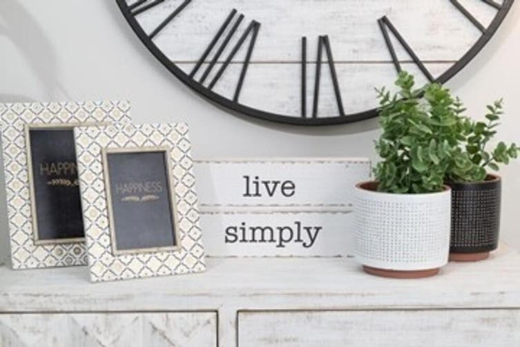 Live Simply 30x15cm Wall Hanging/Table Desk Art Display Home Decoration White
