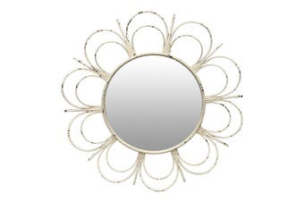 Fiore Round 90x6cm Glass/Metal Wall Mounted Mirror Hanging Home Decor White