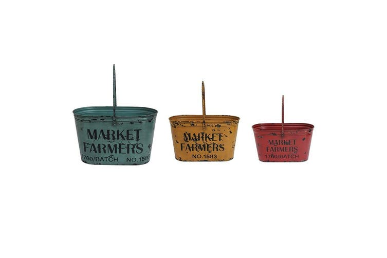 3pc Nested Distressed Colours Metal Oval Buckets/Tub/Tin Home Decor w/ Handle