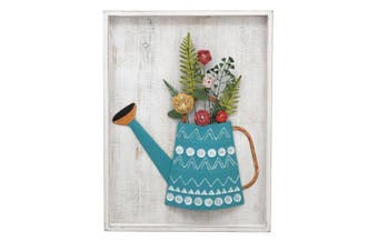 Framed 60x80cm Watering Can Planter Wall Art Hanging Home Decor Display White