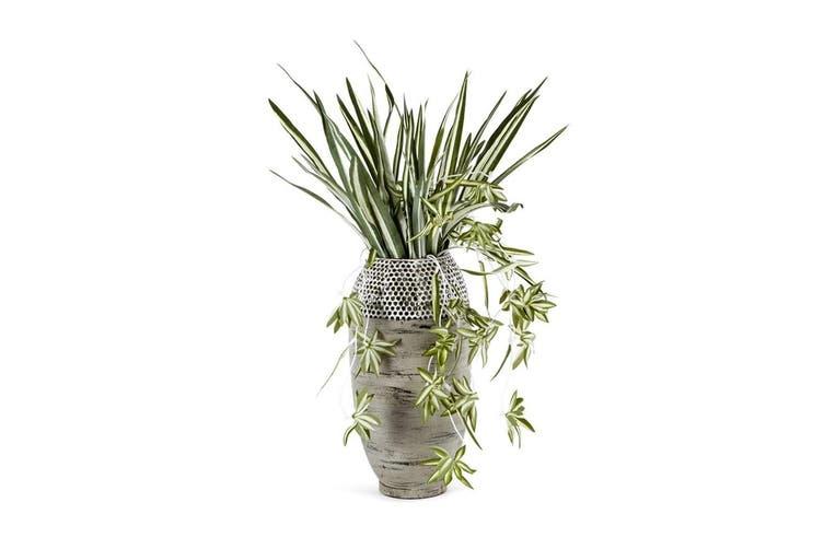 Contemporary Hole Punched Decorative Vase Plant/Flower 20x39cm Home Decor Grey