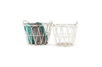2pc Nested Large 49x38/40x38cm Metal Baskets w/ Teardrop Storage Container White