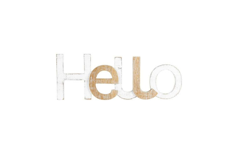 XL Scandi Style Hello Wall Sign 60x22cm Hanging Plaque Home Decor White/Brown