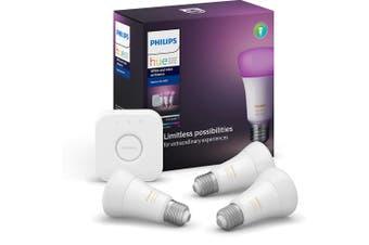 Philips Hue Starter Kit A60 Bridge/3x E27 9W Smart LED Light Bulb Bluetooth/App
