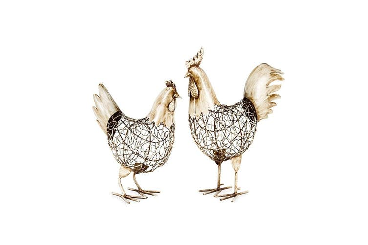 2pc French Country Rooster/Chook Home Decor Display Assorted Distressed White/GD