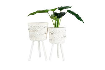 2pc Nested Handcrafted 3-Leg Pot Planters 32x56/27x49cm Flower/Plant Container