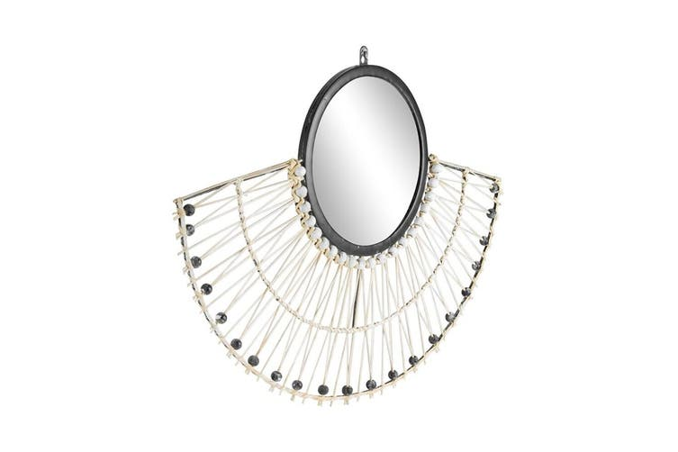 Handcrafted Natural Fan Rattan Wall Mirror 61x45cm Hanging Home Decor White