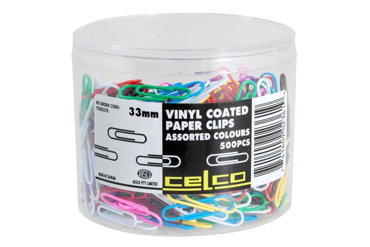 500pc Celco Vinyl Coated Business Paper Clips Assorted Colours Office Supplies