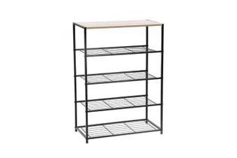 Box Sweden 85cm Metal Frame Display 5 Tier Shelf Rack Organiser w/ Wood Top BRN