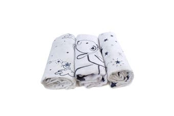 3pc Bubba Blue Muslin Baby/Newborn Cotton Swaddle Wraps Navy Wish Upon A Star 0+