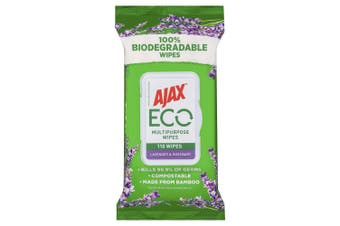 110pc Ajax Eco Multipurpose Bamboo Cleaning Wipes/Towelettes Lavender/Rosemary