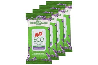 4x110pc Ajax Eco Multipurpose Bamboo Cleaning Wipes/Towelettes Lavender/Rosemary