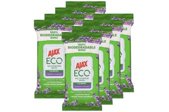 8x110pc Ajax Eco Multipurpose Bamboo Cleaning Wipes/Towelettes Lavender/Rosemary