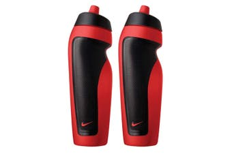 2x Nike Sport 600ml Water Bottle Drink Hydration Sports Plastic Container Red/BK