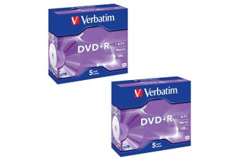 2x 5PK Verbatim DVD+R 4.7GB 16x/120min Blank Discs Data Storage w/ Jewel Cases