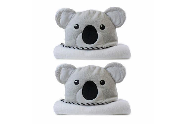 2PK Bubba Blue Animals Koala Novelty Hooded Infant/Nursery Wrap Baby Bath Towel