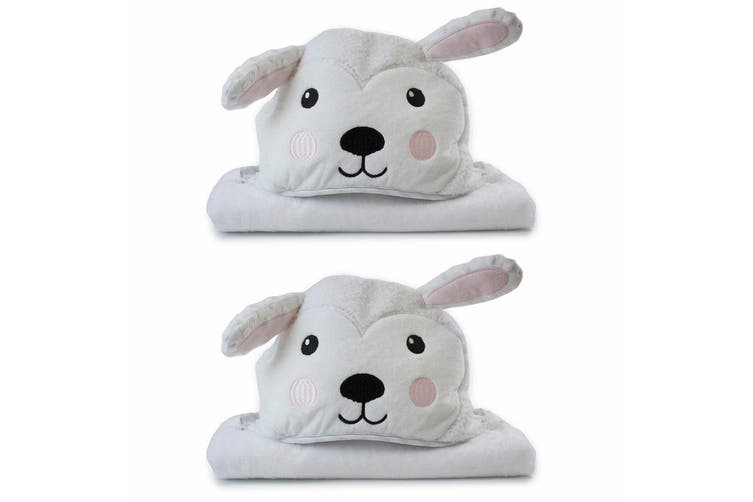 2PK Bubba Blue Animals Sheep Novelty Hooded Infant/Nursery Wrap Baby Bath Towel