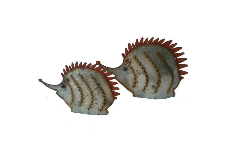 2pc Metal Mum & Baby Hedgehogs 35x23/26x17cm Home Decor Garden Silver/Brown