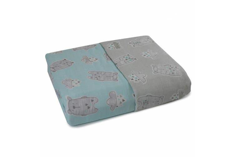 Bubba Blue Beary Happy Muslin Blanket Nursery Cotton Sheet Baby 0m+ Infant Grey