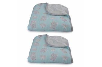 2PK Bubba Blue Beary Happy Muslin Blanket Nursery Cotton Sheet Baby 0m+ Infant