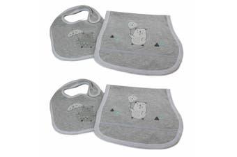 2x Bubba Blue Beary Happy Feeding Bib/Burp Cloth Baby/Newborn/Infant 0m+ Set GRY