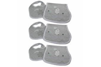 3x Bubba Blue Beary Happy Feeding Bib/Burp Cloth Baby/Newborn/Infant 0m+ Set GRY