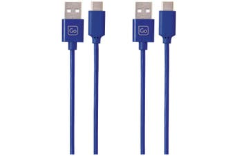 2x Go Travel High Speed  Charge + Sync 2m USB-A to USB-C Cable for Phones Blue