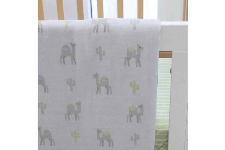 Bubba Blue Sahara Muslin Blanket Nursery Cotton Sheet Baby 0m+ Infant Green/WHT