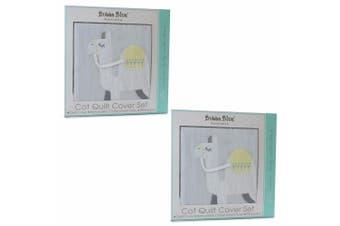 2PK Bubba Blue Sahara Cot Pillowcase Baby 0m+ Nursery Quilt Cover Set Grey/GRN