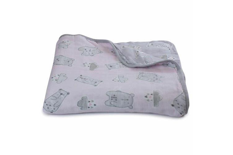 Bubba Blue Beary Sweet Muslin Blanket Nursery Cotton Sheet Baby 0m+ Infant Pink