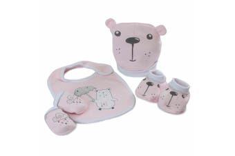 Bubba Blue Beary Sweet Newborn Baby 0m+ Layette Bib/Boots/Mittens Gift Set Pink