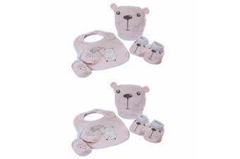 2PK Bubba Blue Beary Sweet Newborn Baby 0m+ Layette Bib/Boots/Mittens Set Pink