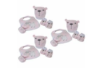 3PK Bubba Blue Beary Sweet Newborn Baby 0m+ Layette Bib/Boots/Mittens Set Pink