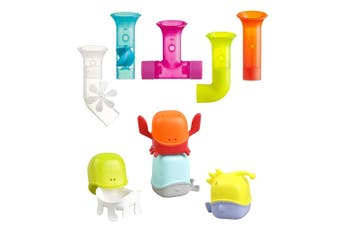 Boon 5pc Pipes Building Bath Toy Suction Set w/ 4pc Creatures Bath Toy Cup Set