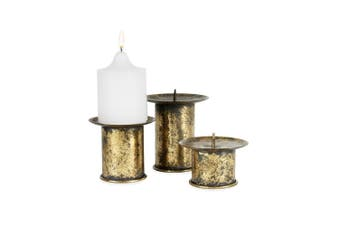 3pc Nested Vintage Pillar Candle Holders 11x14/10x12/10x10cm Home Decor Gold