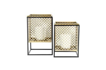 2pc Nested Square Lustre Floating Lanterns 18x28/16.5x23cm Candle Holders Gold