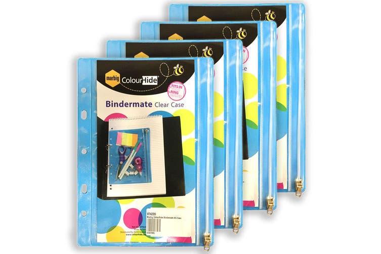 4x Marbig ColourHide Bindermate A5 Clear Case Stationery/Pen/Pencils Holder Blue