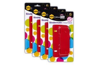 4PK Marbig Bindermate 2 Round Hole Punch Maker Paper Puncher for File Binder Red