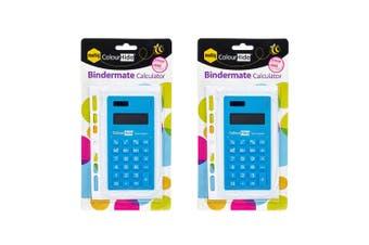 2PK Marbig Bindermate 8 Digit Solar/Battery Handheld Calculator School Office BL