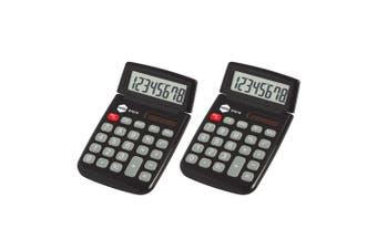 2PK Marbig Dual Solar Powered 8 Digit Pocket Handheld Calculator Office Black
