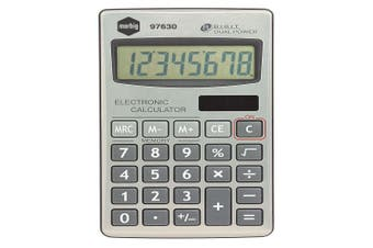 Marbig 8 Digit Handheld Calculator Home/Office/School w/ Large Display Silver
