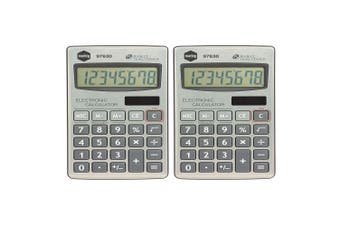 2x Marbig 8 Digit Handheld Calculator Home/Office/School w/ Large Display Silver