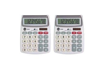2PK Marbig 8 Digit Compact Desktop Calculator Office/School Solar Large Display