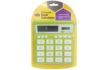 Marbig 8 Digit Home/Office Calculator Large Display/Solar/Battery Powered Green