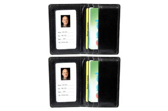 2PK Rexel Women/Men ID Bank Cards Pass Holder Wallet Leatherette Finish - Black
