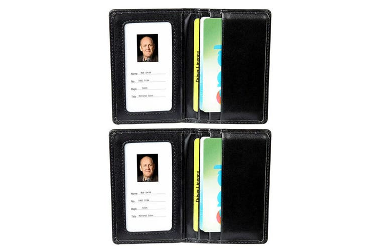 2PK Rexel Women/Men ID Bank Cards Pass Holder Wallet Leatherette Finish - Black