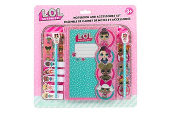 LOL Surprise Hardcover Notebook Set w/2 Pencils/Sticky Notes/Stickers/Kids 3y+
