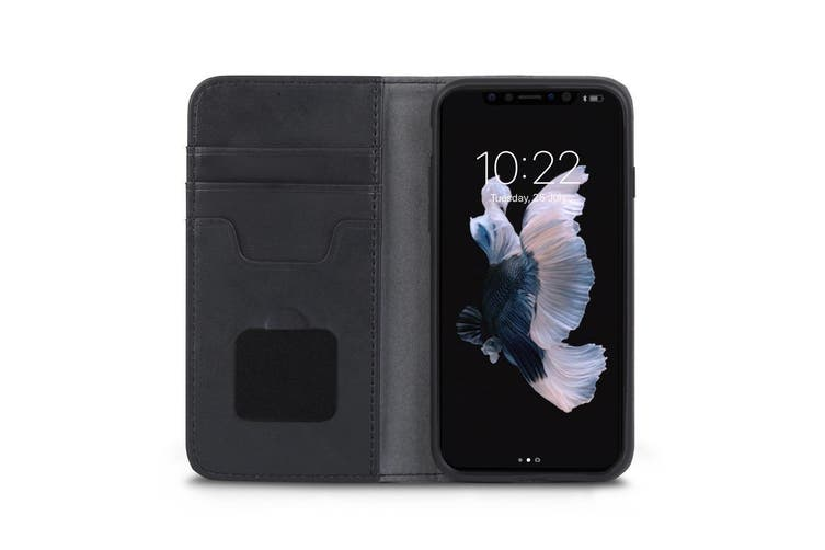 Moshi Overture Leather Shockproof Folio Case/Cover For iPhone X/XS Black