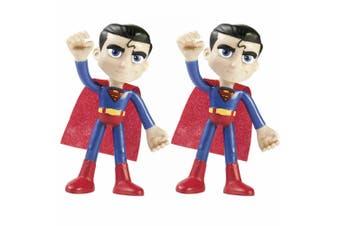 """2PK Justice League Superman DC Superhero 4"""" Bendables Toy Figures Kids/Children"""